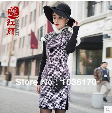 Improved quilted Chinese dress cheongsam autumn & winter wear qipao dress(China (Mainland))