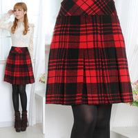 Women's pleated square grid bust skirt short skirt