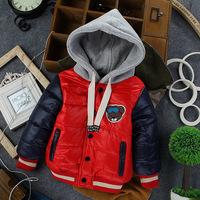 Free shipping boys winter cotton-padded children outerwear clip cotton thickening velvet wadded jacket children hoodies