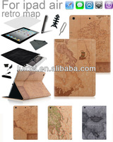 world map leather case cover for ipad air free 8 sets free shipping