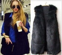 Free shipping,Winter fur vest,fashion fur vest,Black vest female macrotrichia vest multi-color long vest best squality sleeveles
