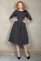 Free Shipping Fashion hepburn vintage slim black polka dot after v o-neck long-sleeve knitted one-piece dress skirt  50s