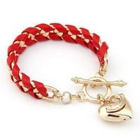 Heart Pendant Weave Curb Chain Bracelet Fashion Statement Chain Bracelet cxt90688