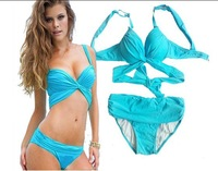 New Arrive Beach Bikini Sexy Bandage Push Up Sky Blue Bandage Swimwear Women Swimsuit Bathing Suit Beachwear HTNYY-104