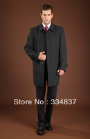 Free Shipping 2013 New Design Men Long Blends With Wool Grey Formal Winter Coats Size S--4XL