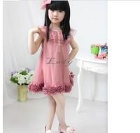 2014 NEW lovely Cute Kids Girl's Sleeveless Chiffon Flowers Hem Lace ruffles Princess Tutu mini Dresses For Party 18157