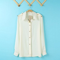 2014 Spring Summer Style Women's Quality Long Sleeve Chiffon Epaulette Shirt, Turn Down Collar Blouse, Hot Item D03-83-010