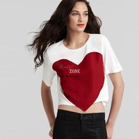 2014 Bargain New Fashion Women's Loose Stitching Large Red Heart Crew Neck Short Sleeve Crop Tops Short T-shirt Plus Size 19784