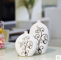 Modern brief ceramic decorative vase for flower home accessories kits white two pieces set free shipping