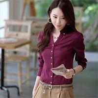fashion women 2013 Slim shirt 2013 autumn work wear ol slim shirt women's 100% long-sleeve cotton shirt women