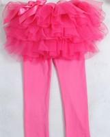 2014 New Arrive Cute Baby Girls Leggings Pants Skirt Solid Yarn Ruffle Kids Skirt Free Shipping