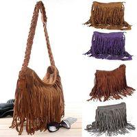 HOT Faux Suede Fringe Tassel Shoulder Bag Womens Handbags Messenger Bag Free Shipping