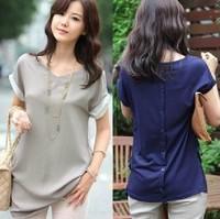 """LASION""2013 NEW women summer tops plus size clothing Blouse chiffon cotton patchwork peplum shirt #6009"