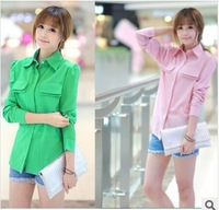 Hot selling Plus Size Cheap Korean Style Fashion Casual Green/Pink Long Sleeve Chiffon Blouse women Shirts
