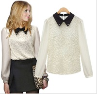 New women stitching lace chiffon  Ladies long sleeved top BLOUSE shirt collar doll F white black