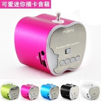 1pcs/lot T-2012 Portable mini speaker TF card and USB disk music player with FM radio digital player drop shipping