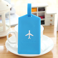 5018A Min order $10 (mix order) free shipping 2014 new rectangle shape popular candy color small aircraft silicone luggage tag