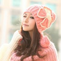 New Women Winter Hat Korean Butterflies Lady Knitting Wool Hats Ear Protectors Warm Knitted Wnter Caps Cute Girls Beanie[240608]