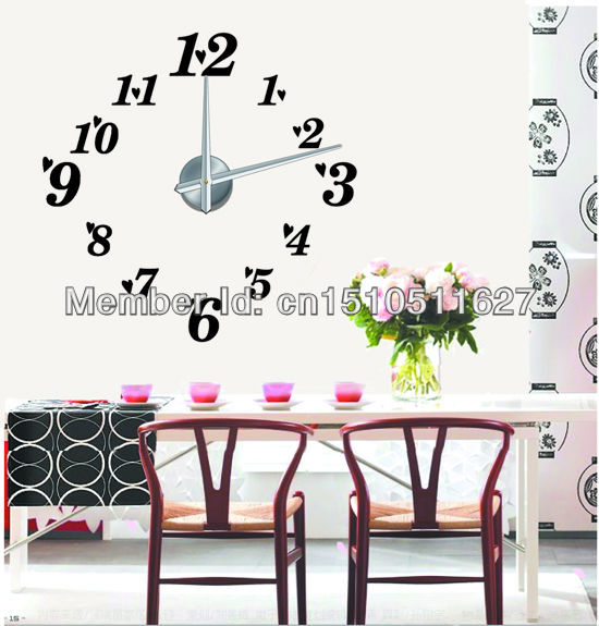 Free shipping !3D digital wall clock Modern design,large designer wall clocks for unique gift(China (Mainland))