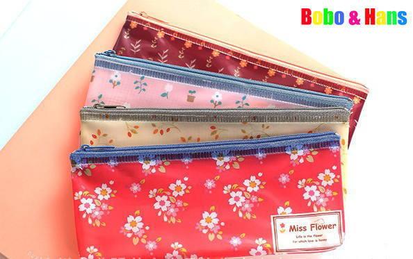 New cute PVC Miss flowers designs Pencil bag / B6 grid file bag / pouch / Wholesale(China (Mainland))
