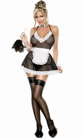 Sexy Naughty Maid Costume Dress Uniforms Costumes For Women Black Dress+ Apron 8460