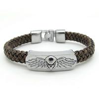 Brown Leather Bracelet Men Cool Biker Motorcrycle Stainless Steel Flying Wing Eagle Bracelets Bangles New Arrival