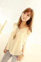 Tops Blouses Ladies Sexy vintage crochet lace pleated chiffon shirt lotus leaf sleeve Off-shoulder tops Blouses W4306