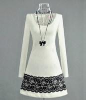 2014 new women's korea fashion casual cotton dress Lady dress twinset free shipping