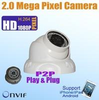P2P Plug&Play  RealTime 1080P 2.0 Megapixel Dome IP mcamera, 30m Night View, ONVIF POE optional CCTV Security IP Camera