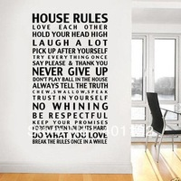 Free shipping House Rules  Quote Vinyl Wall Decal Sticker Home Decor Removable Vinyl Wall Stickers Home Decal Wall Decor