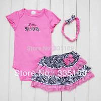 Retail New Arrival Baby fashion summer sets Girls 3 Piece Suits short Romper +Tutu Skirt + Headband pink zebra clothing set