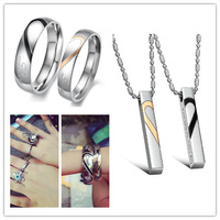 OPK JEWELRY Hot Sale Stainless Steel Half Heat Ring & Puzzle Pendent Necklace Fashion Couple Promise Jewelry Set Gift For Lover