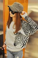 Free Shipping Women Hoodies Pullovers Sweatshirts Cotton Zebra Print Clothing Novelty Fashion Long Sleeve O-Neck M~L White Grey