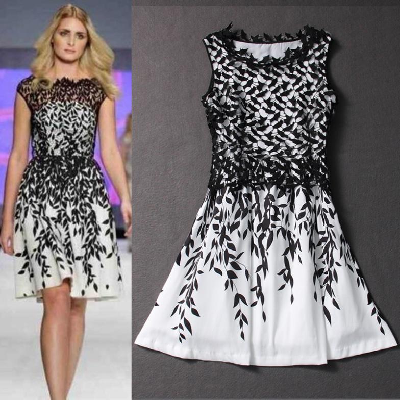 DRESSES NEW FASHION 2014 SUMMER DESIGNER BLACK AND WHITE LEAF ...