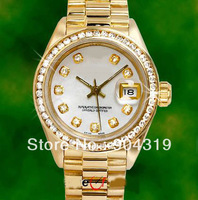Free Shipping Luxury Ladies Date 18K Gold Whie Diamond Dial & Bezel Watch 69178