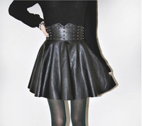 Fashion skirt winter Punk Rivet PU Leather Skirt W3346