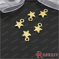 Free Shipping Wholesale 9.5mm Gold Star Alloy Flat Charms Pendants Diy Fashion Findings Accessories 100 pieces(JM4158)