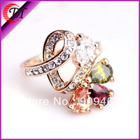 2014New Arrival WNRING657 DuoYing Alloy Fashion Design Crystal And Rhinestone Gold Plated Ring For Women wedding