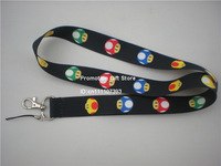 Printed Super Mario Mushroon Polyester Lanyard, Cell Phone Strap with Metal Clip, 90cm Long, Black, 35pcs/Lot, Free Shipping