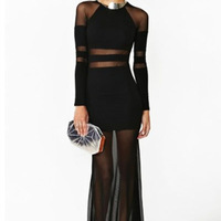 Women's sexy stripe gauze mesh transparent long dress bohemian Sheer Panels Long Sleeves Shadow tripe Party Long Maxi Dresses
