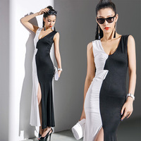 2014 one-piece dress new arrival black and white slim sexy slim hip placketing long dresses