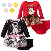 Wholesale 2pcs child MINNIE leopard print long-sleeve girls dress +briefs spring and autumn kids clothes set