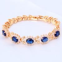 Blue Crystal & AAA Zircon 18K k Gold Plated charm bracelets for women Health Nickel & Lead free Fashion jewelry TB105