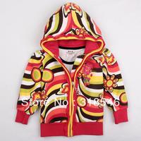 Free shipping 5pcs/lot children clothing kids 100% cotton zipper  jacket girls floral outerwear, kids outfit
