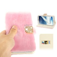Diamond Encrusted Winter Pink  Warm Fur Flip Cover Leather Case for Samsung Galaxy Note 2 with Credit Card Slot Holder