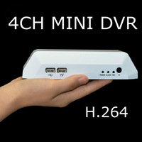 Free shipping Russian CCTV DVR 4CH MINI Household home USB Mobile Hard disk 1 D1 H.264 Car Phone monitoring HDMI