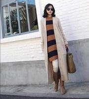 Free shipping autumn winter woman single breasted  v-neck maxi cardigan sweater dress maxi coat ankle length coat