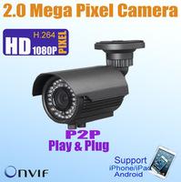 1080P Outdoor CMOS 2.0 Megapixel Bullet IP Camera,4-9/2.8-12mm Varifocal Lens, P2P Plug&Play,50m IR distance,ONVIF POE