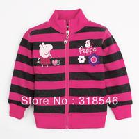 2014 new Free shipping 5pcs/lot  girls zipper jacket girls stripe outerwear girls coat girl lovely peppa pig coat 1-6Y