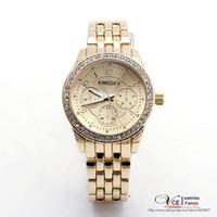 free shipping New fashion gold inlaid rhinestone atmospheric quartz watch men's business